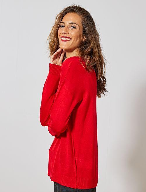 Jersey oversize con escote de pico                                                                                         ROJO Mujer talla 34 a 48