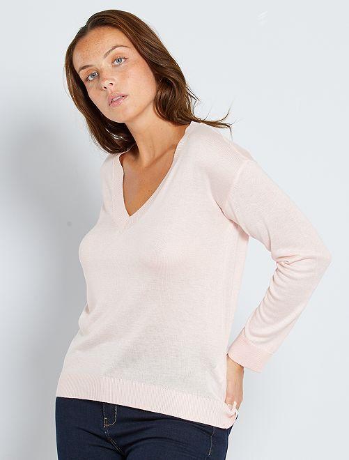 Jersey oversize con escote de pico                                                                                                                                                                                                                 rosa claro