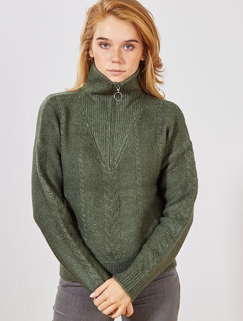 Jersey trenzado con cremallera en el cuello                                         verde tomillo