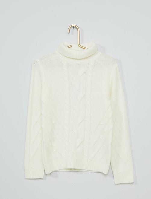 Jersey trenzado de cuello vuelto                             blanco nieve