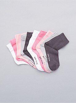 Niña 3-12 años Juego de 10 pares de calcetines lisos