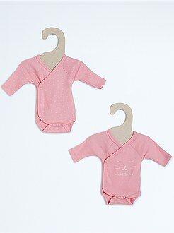Niña 0-24 meses Juego de 2 bodies cruzados de algodón puro