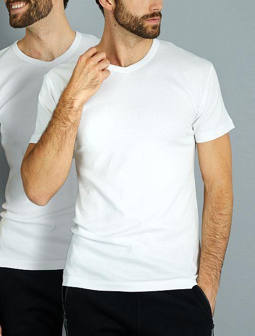Juego de 2 camisetas de algodón con cuello de pico 'Dim'                             blanco