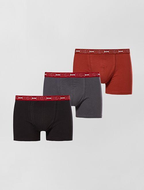 Juego de 3 boxers de algodón elástico de 'Dim'                                                                                         gris/rojo/negro Hombre