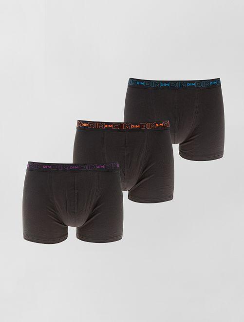 Juego de 3 boxers de algodón elástico de 'Dim'                                                                                                     negro