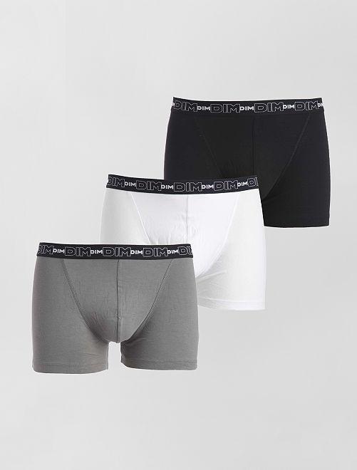 Juego de 3 boxers de algodón elástico de 'Dim'                                                                                                     negro/gris/blanco