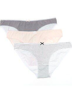 Lencería de la S a la XXL Juego de 3 bragas de algodón con motivo de fantasía