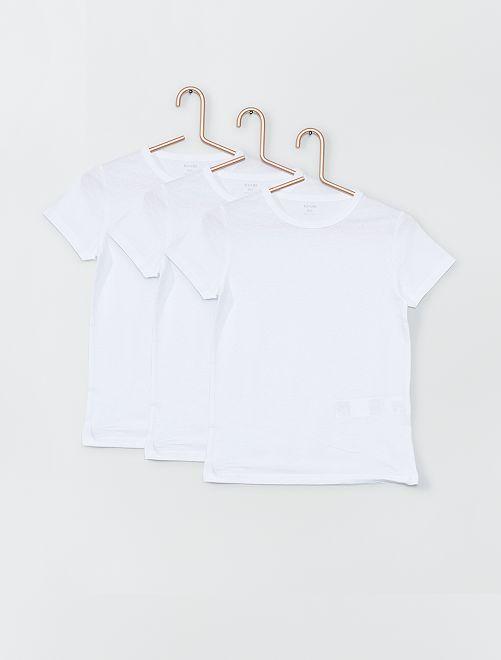 Juego de 3 camisetas blancas                             blanco Chico