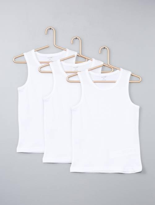 Juego de 3 camisetas de algodón sin mangas                             blanco