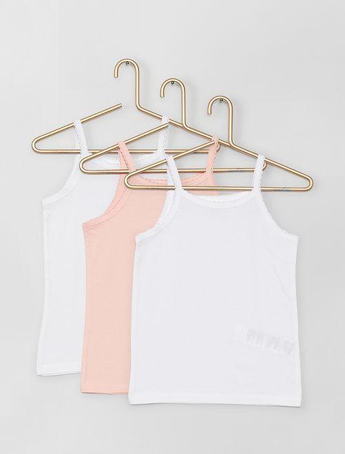 Juego de 3 camisetas de tirantes de algodón                             blanco/rosa