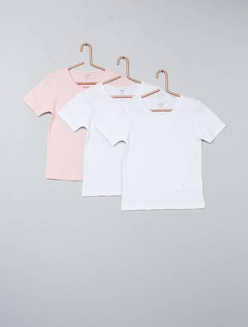 Juego de 3 camisetas lisas                             blanco/rosa