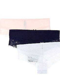 Lencería de la S a la XXL Juego de 3 culotes de algodón y poliéster con detalle de encaje