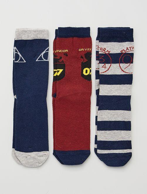 Juego de 3 pares de calcetines 'Harry Potter'                             ROJO/azul