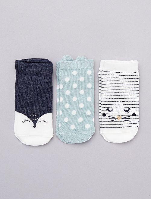 Juego de 3 pares de calcetines tobilleros                                                                             AZUL