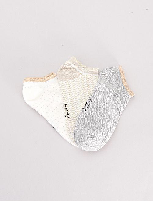 Juego de 3 pares de calcetines tobilleros                                                                             BEIGE