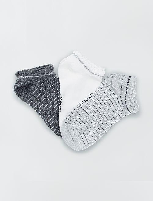 Juego de 3 pares de calcetines tobilleros                                                                                                                 GRIS