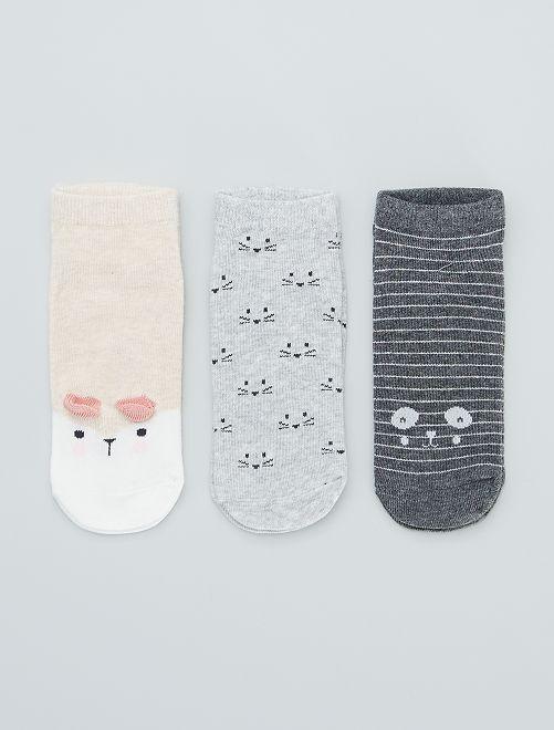 Juego de 3 pares de calcetines tobilleros                                                                                                                             ROSA