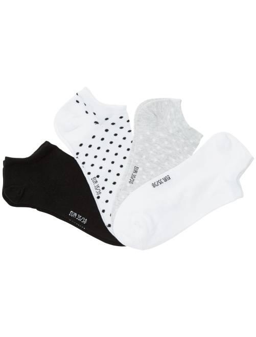 Juego de 4 pares de calcetines invisibles                             BLANCO Joven niña