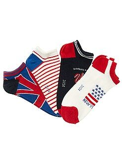 Calcetines - Juego de 4 pares de calcetines invisibles de bandera