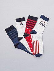 Juego de 4 pares de calcetines 'USA'