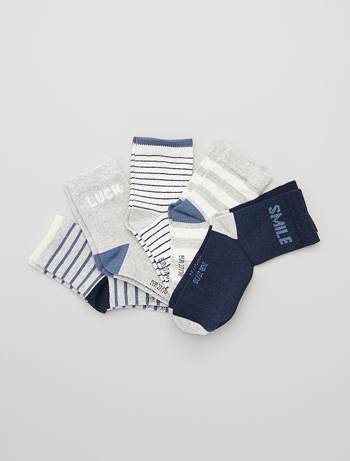 Juego de 5 pares de calcetines                                 a rayas azul Chico
