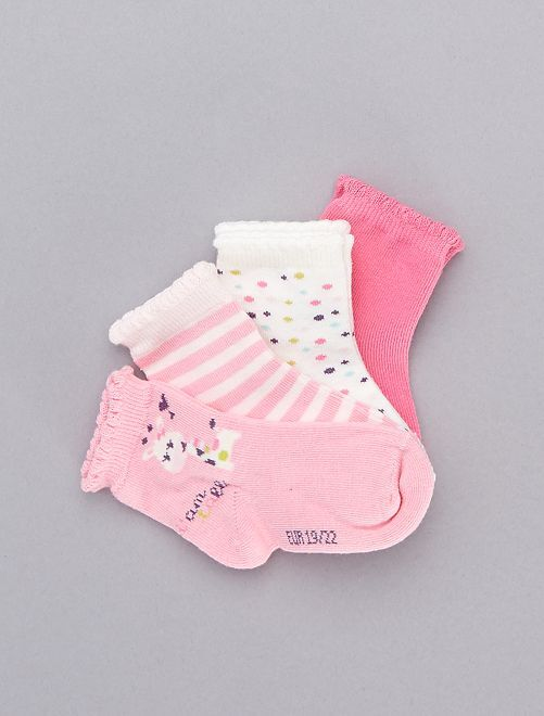 Juego de 5 pares de calcetines de jirafa                             amarillo Bebé niña