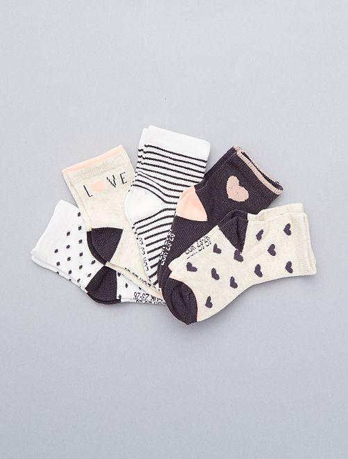 Juego de 5 pares de calcetines                             rosa Bebé niña