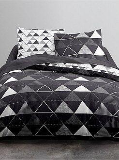 Ropa de cama adulto - Juego de cama blanco y negro estampado 'triángulos' - Kiabi