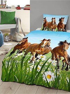 Ropa de cama infantil - Juego de cama con estampado de caballos - Kiabi