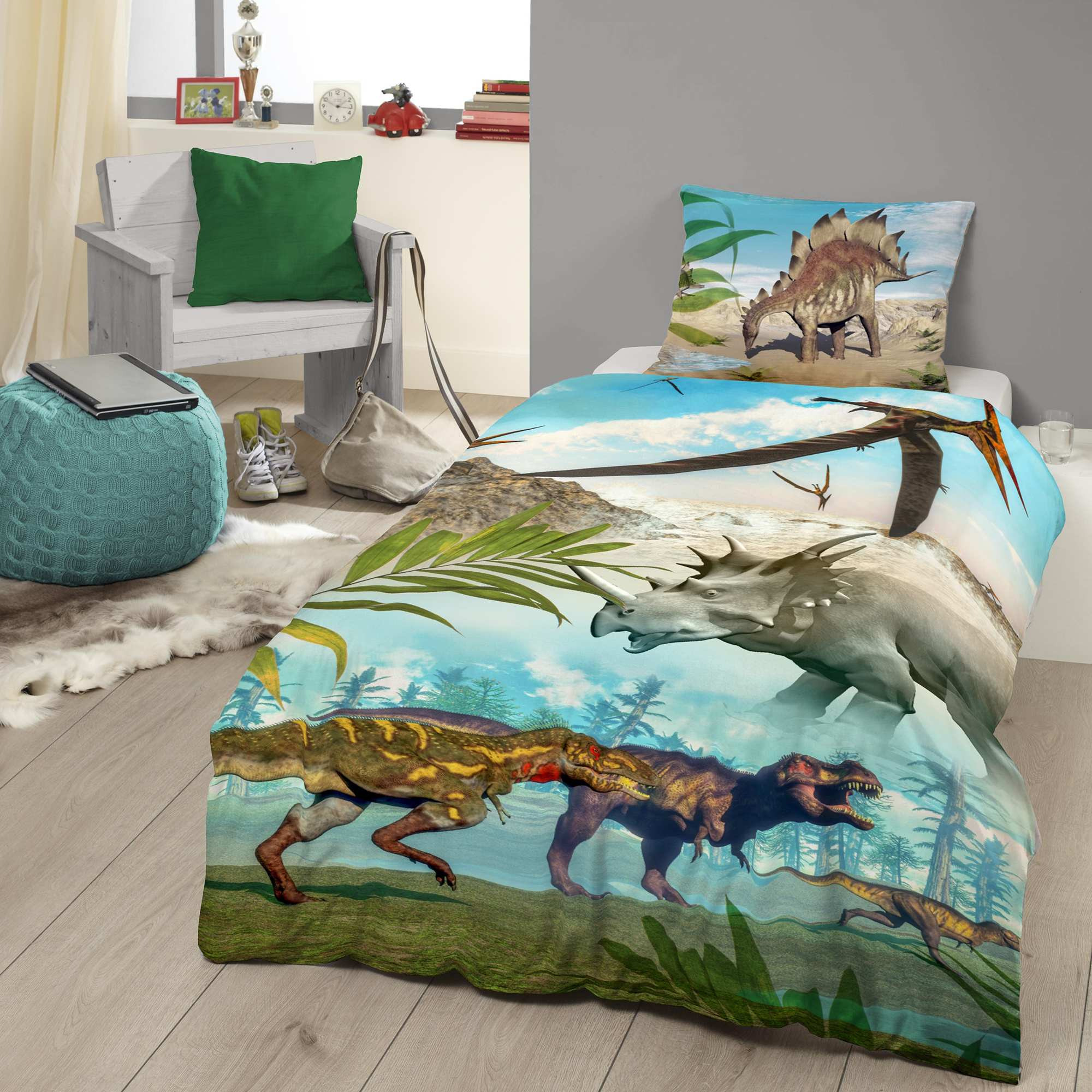 juego de cama con estampado de 39 dinosaurios 39 hogar bleu vert kiabi 25 00. Black Bedroom Furniture Sets. Home Design Ideas