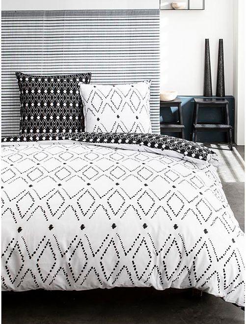 Juego de cama con estampado gráfico                             blanco/negro