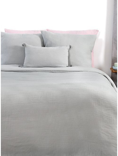 Juego de cama de gasa de algodón doble                             gris