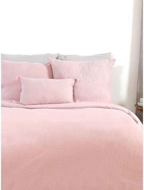 Juego de cama de gasa de algodón individual                             rosa