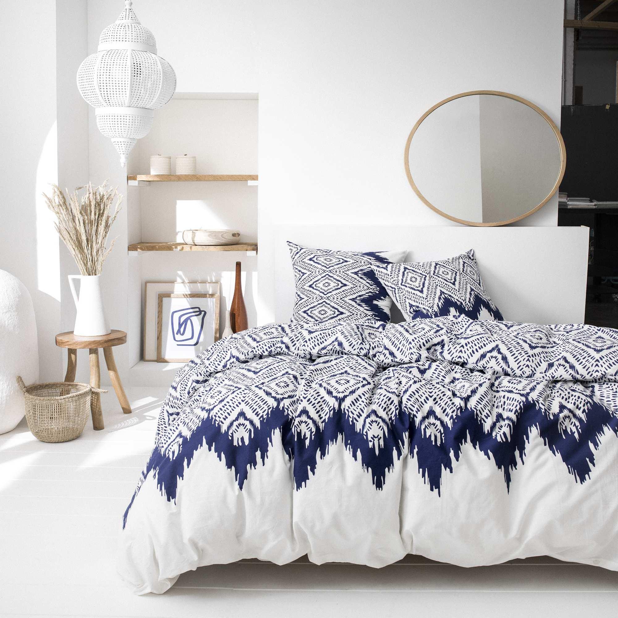 b0c06d22d43 Juego de cama doble Hogar - azul blanco - Kiabi - 32