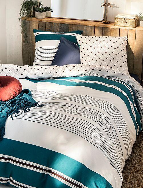 Juego de cama doble                             azul/blanco Hogar