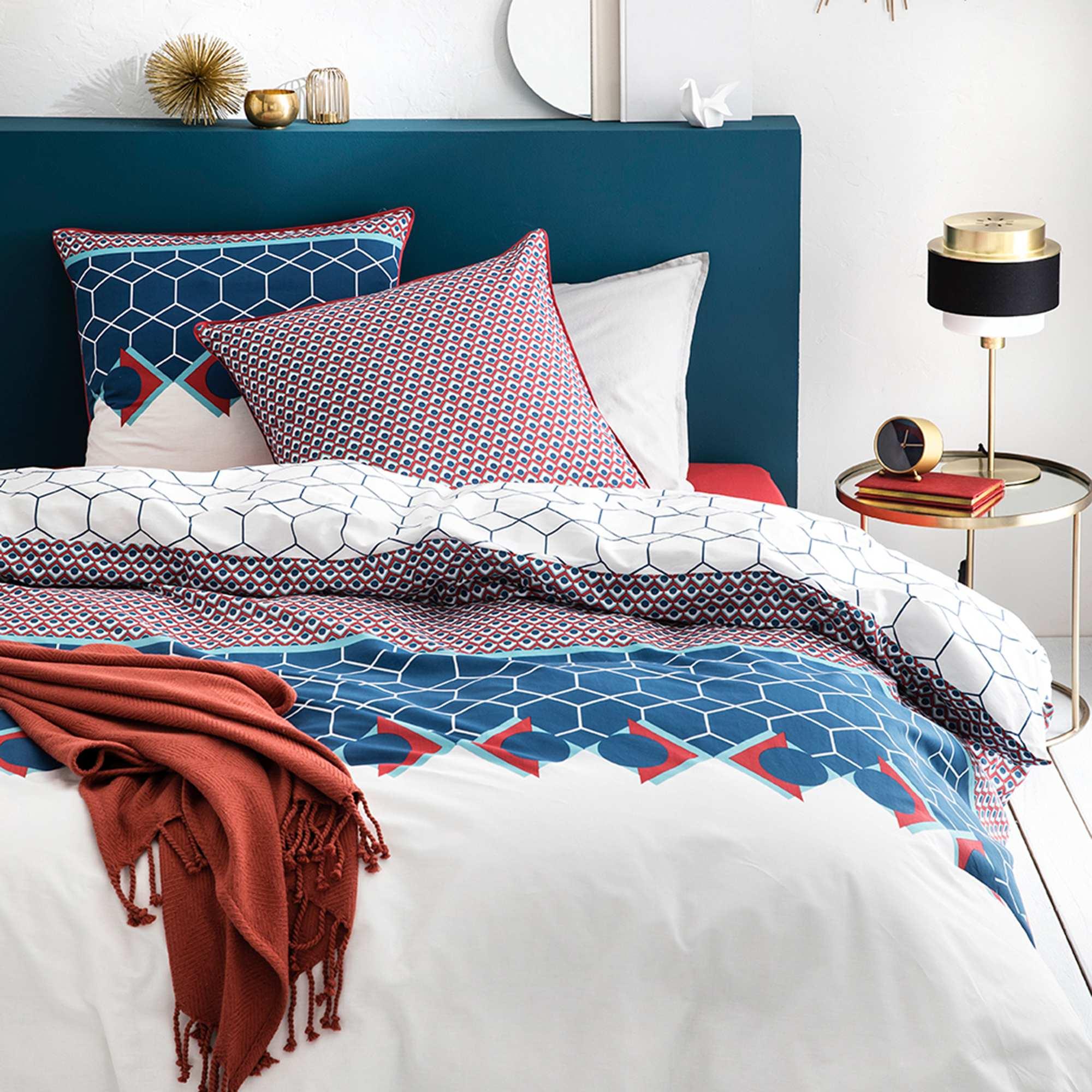 a2c2613dfd3 Juego de cama doble Hogar - azul blanco - Kiabi - 35