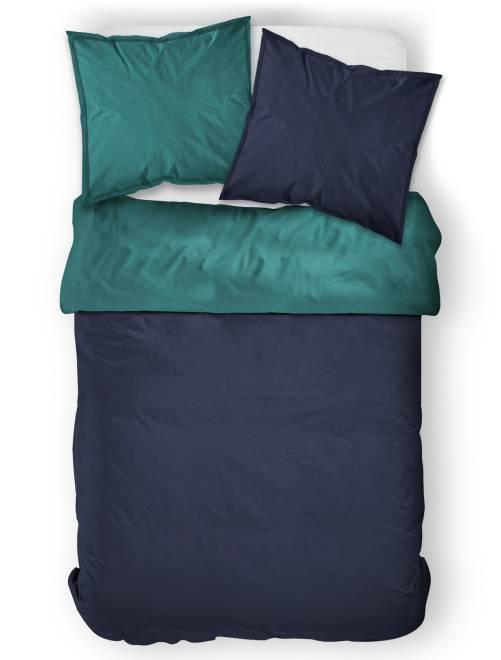 Juego de cama doble bicolor                                             azul marino/azul pato
