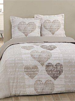 Ropa de cama adulto - Juego de cama doble con estampado de 'corazones'