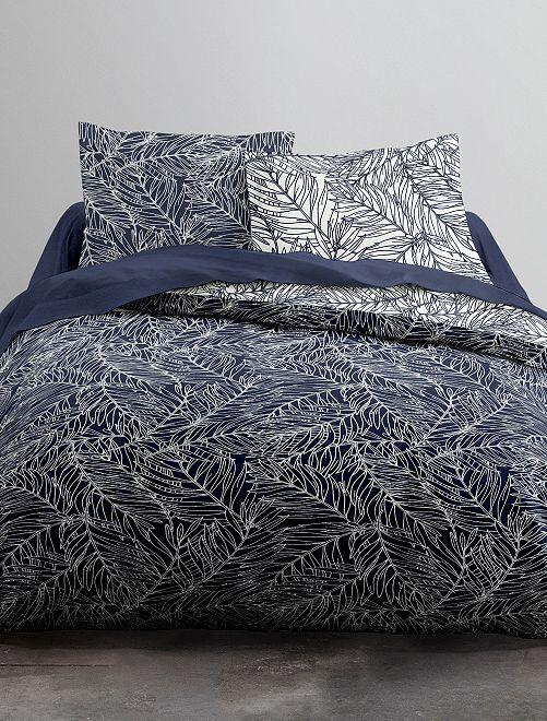 Juego de cama doble con estampado de 'hojas'                             azul Hogar