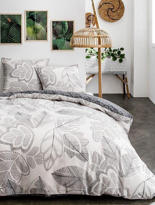 Juego de cama doble con estampado de 'hojas'                             blanco/gris