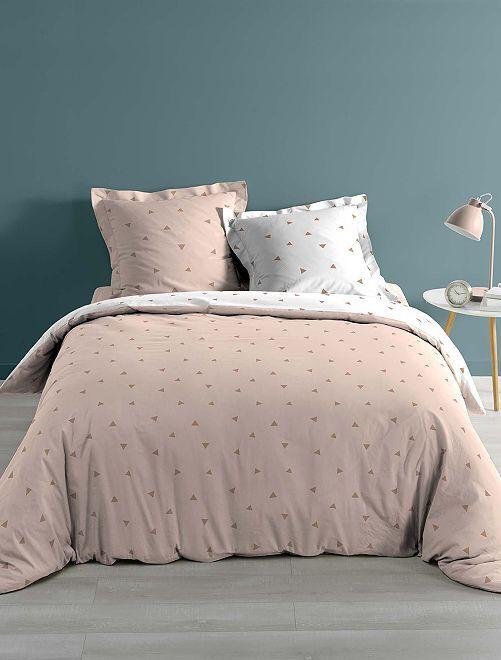 Juego de cama doble con estampado de 'triángulo'                             rosa Hogar