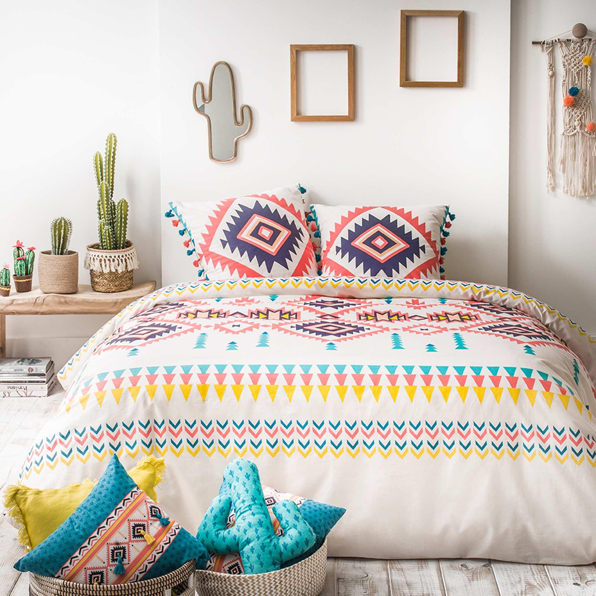 Juego de cama doble con estampado tnico hogar crudo kiabi 35 00 - Kiabi hogar ...