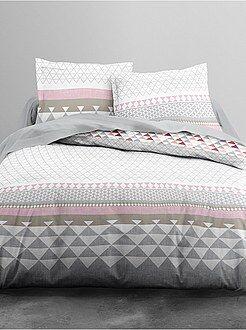 Ropa de cama adulto - Juego de cama doble con estampado geométrico - Kiabi