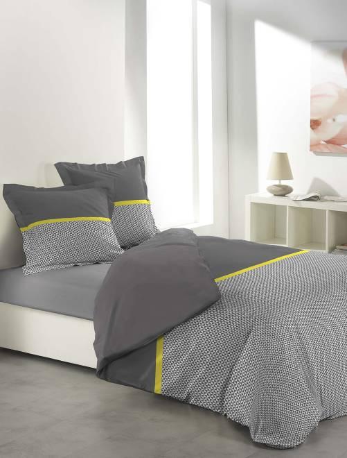 Juego de cama doble con estampado gráfico                     gris/blanco/amarillo Hogar