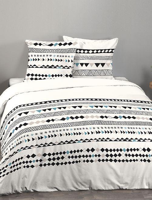 Juego de cama doble con motivos 'geométricos'                             crudo
