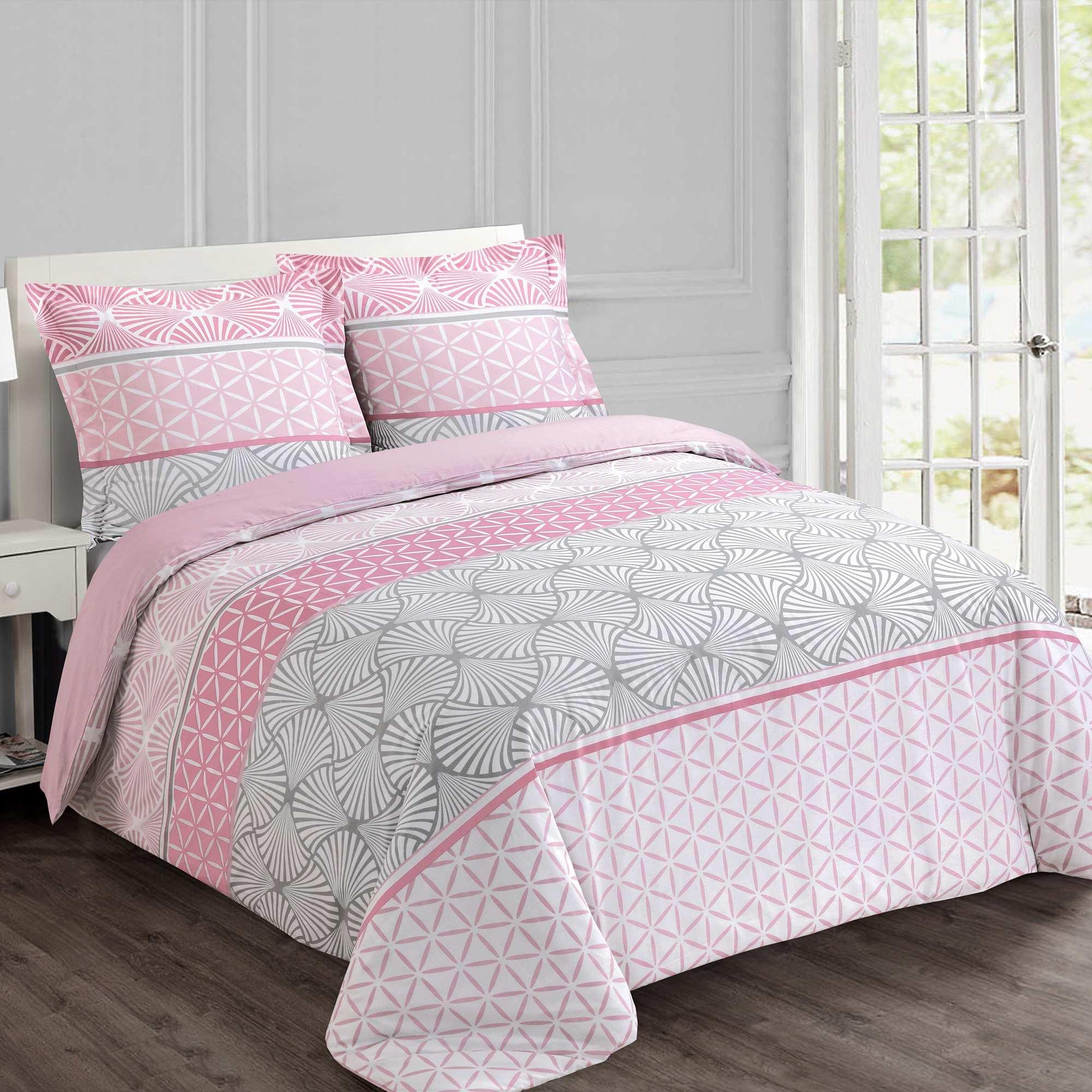 Juego de cama doble con motivos geom tricos hogar rosa kiabi 35 00 - Kiabi hogar ...