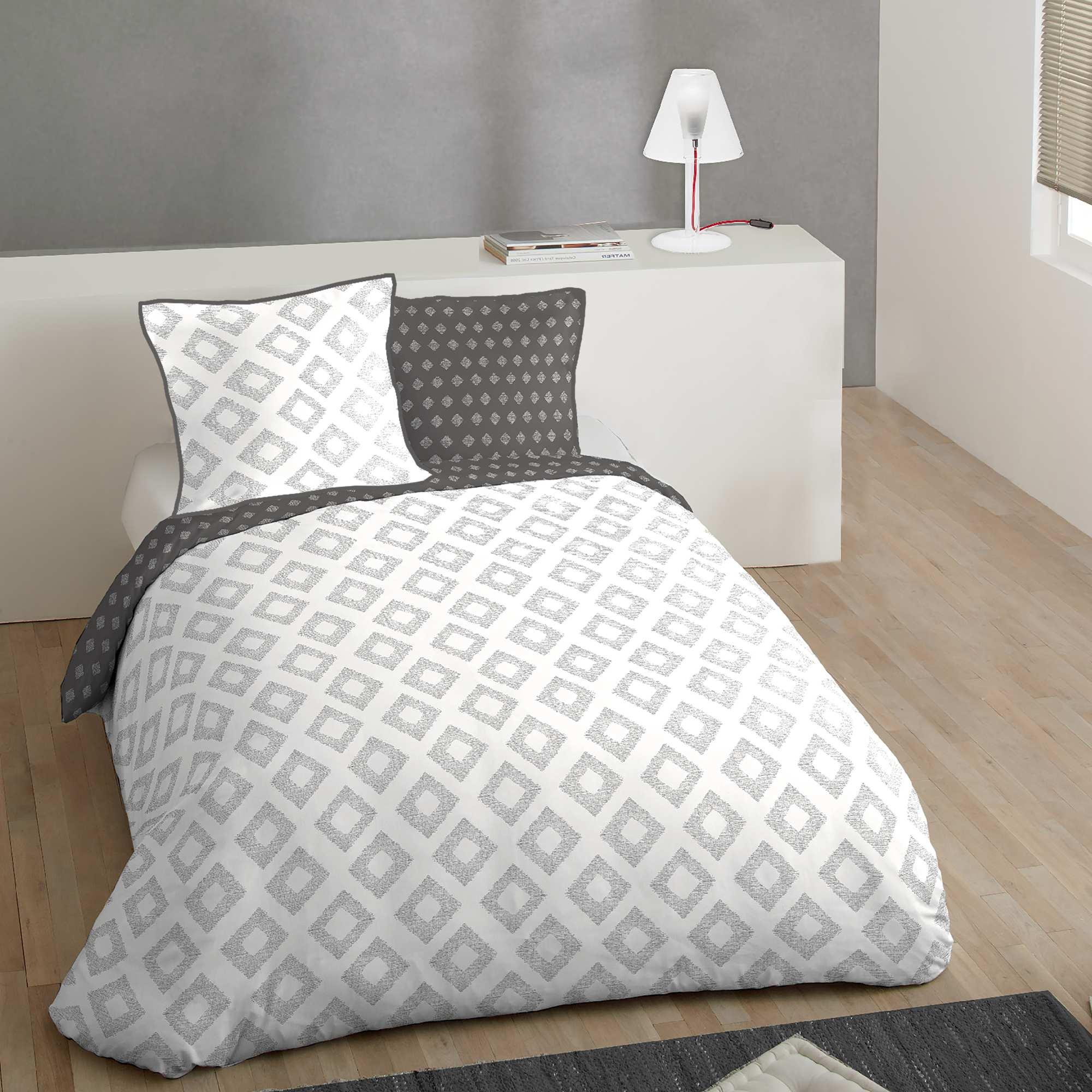 Juego de cama doble de algod n hogar blanco gris kiabi for Cama doble nina