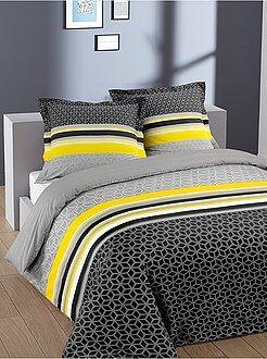 Ropa de cama adulto - Juego de cama doble de algodón con estampado geométrico - Kiabi