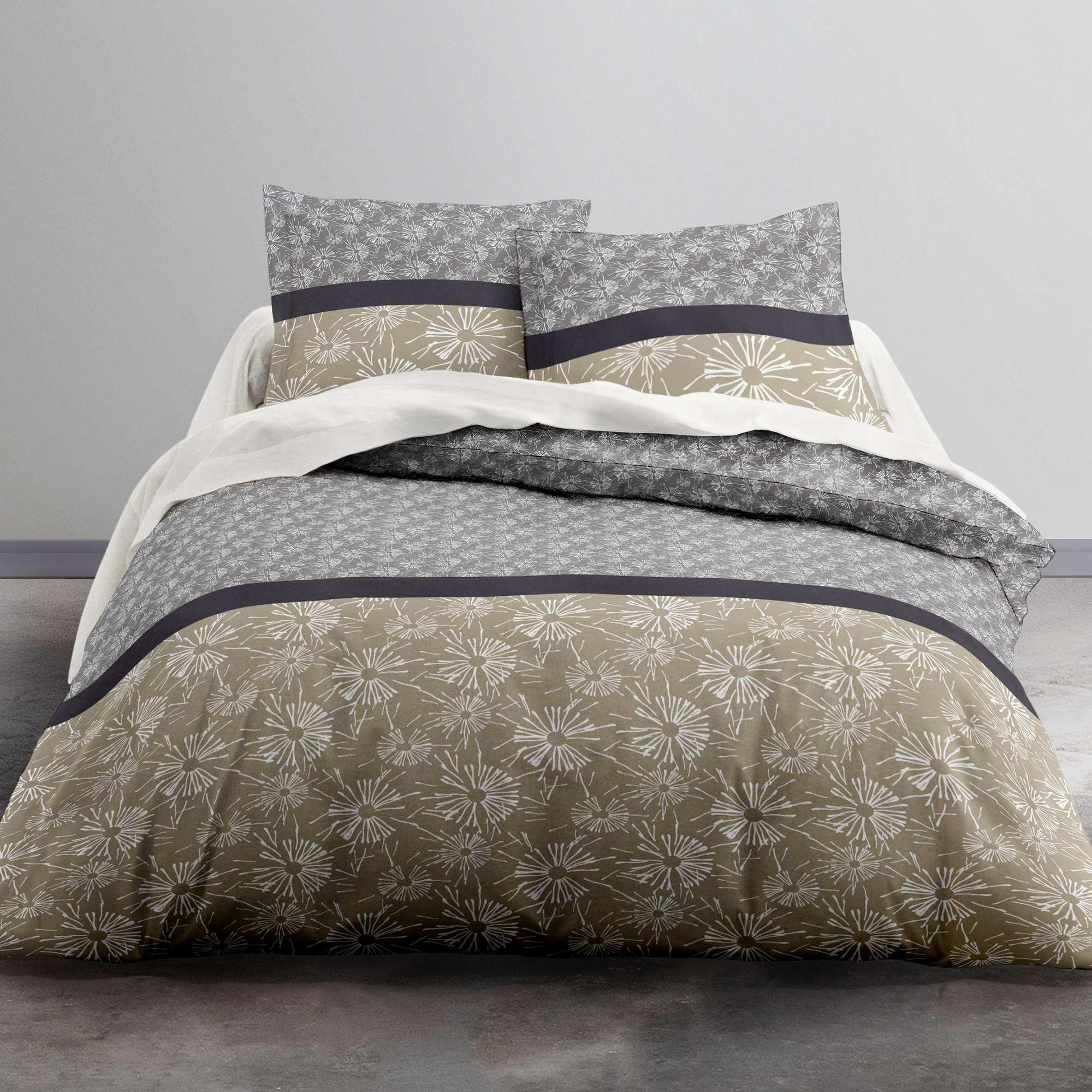 Juego de cama doble de algod n hogar gris beige kiabi for Cama doble nina
