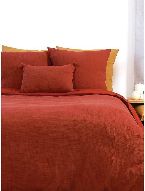 Juego de cama doble de gasa de algodón                             AMARILLO